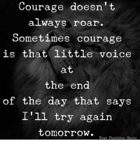 Memes, Oasis, and Tomorrow: Courage doesn't  always roar  ometimes courage  is that little voice  the end  of the day that says  I'1l try again  tomorroW.  Your Positive Oasis