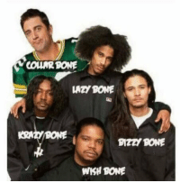 Aaron Rodgers, Bones, and Football: COURBONE  KRNT BONE  SIZZI BONE  WKH BONE BREAKING: Aaron Rodgers gives up football and joins Bones Thugs N Harmony using the stage name COLLARBONE!!! https://t.co/qmL8XY978P