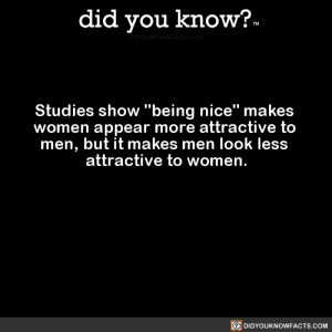 "courier-aphra:  squeaky-floorboards:  did-you-know: Studies show ""being nice"" makes women appear more attractive to men, but it makes men look less attractive to women.  (Source, Source 2)  This was ""discovered"" by a Nice Guy™   What in incel tarnation wrote this? Literally the first thing I fell in love with about my husband is how kind he is. : courier-aphra:  squeaky-floorboards:  did-you-know: Studies show ""being nice"" makes women appear more attractive to men, but it makes men look less attractive to women.  (Source, Source 2)  This was ""discovered"" by a Nice Guy™   What in incel tarnation wrote this? Literally the first thing I fell in love with about my husband is how kind he is."