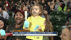 NOW TRENDING: Cotton-candy Girl - YouTube: Courtesv: Seattle Mariners  NOW TRENDING  GIRL GOES CRAZY FOR COTTON CANDY  SEATTLE, WA NOW TRENDING: Cotton-candy Girl - YouTube