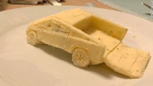 Cybertruck made out of mashed potatoes: COURTESY DAN MILANO Cybertruck made out of mashed potatoes
