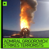 Footage courtesy: Russian MOD  DETAILS: http://on.rt.com/7v6b: COURTESY MOD  ADMIRAL GRIGOROVICH  STRIKES TERRORISTS Footage courtesy: Russian MOD  DETAILS: http://on.rt.com/7v6b