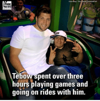 Disneyland, Memes, and News: Courtesy: Tim Tobow Foundation  FOX  NEWS  ehanne  Tebow spent over three  hours playing games and  going on rides with him. Surprise of a Lifetime: @timtebow joined Mario, who was born premature and beat the odds to survive, during a visit to @disneyland! (Cc: @timtebowfoundation)