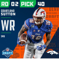 Clock, Espn, and Memes: COURTLAND  SUTTON  ON THE CLOCK  ORAFT  018  kixx  CLOC  SMU  SMU  COS  LOCK ON T  CK ON  NFL  DRAFT  NFL  RAFT  2018 /  2018 With the #40 overall pick in the 2018 #NFLDraft, the @Broncos select WR @SuttonCourtland!  📺: NFLN/FOX/ESPN https://t.co/GjvyIG4Kff