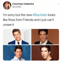 o m g cannot unsee 😱 who's excited for the Bachelor premiere tonight?? 👇 (@girlwithnojob - @cshillz on Twitter): Courtney Hoekstra  @cshillz  I'm sorry but the new #Bachelor looks  like Ross from Friends and I just can't  unsee it o m g cannot unsee 😱 who's excited for the Bachelor premiere tonight?? 👇 (@girlwithnojob - @cshillz on Twitter)