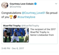 Love, Congratulations, and Proud: Courtney Love Cobain  @Courtney  Congratulations @Courtney_ Love51 So proud  of youỹ2O #courtneylove  of vou  Wuerffel Trophy @WuerffelTrophy  The recipient of the 2017  Wuerffel Trophy is:  Senior Linebacker from  3:46 PM Dec 6, 2017 <p>Courtney Love follows other people named Courtney Love and sends them encouraging messages.</p>