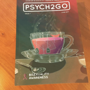 "psych2go: dailypsychologyfacts:  ""The cover of this month's issue is a metaphorical representation of bisexualty; the two kinds of tea bags represent attraction to multiple sexes and the color of the tea not only conveys the intermingling of the sexes but also happens to be the colors of the bisexual flag. Through this piece, I wanted to show how love can be brewed many ways and it's not wrong or different just because it's underrepresented."" by Evelyn Ivy, our Psych2Go Magazine Cover Artist for Bisexuality Issue  We will be producing 50 copies of these. If you still want to grab one for yourself or somebody as a birthday gift, you can do so: = HERE It contains 80 pages covering various issues/stories with illustrations and quizzes. Ships worldwide. This is a physical copy and the cost covers production and shipping!  Help us hit our target goal of 50 copies! Pre-order one now.    We now have the issues ready to ship! : COVER ART BY EVELYN İVY-CREATED BY TERESA so  PSYCH2GO  ISSUE 7  JUNE 2017  Earl  Chal  BISEXUALITY  AWARENESS psych2go: dailypsychologyfacts:  ""The cover of this month's issue is a metaphorical representation of bisexualty; the two kinds of tea bags represent attraction to multiple sexes and the color of the tea not only conveys the intermingling of the sexes but also happens to be the colors of the bisexual flag. Through this piece, I wanted to show how love can be brewed many ways and it's not wrong or different just because it's underrepresented."" by Evelyn Ivy, our Psych2Go Magazine Cover Artist for Bisexuality Issue  We will be producing 50 copies of these. If you still want to grab one for yourself or somebody as a birthday gift, you can do so: = HERE It contains 80 pages covering various issues/stories with illustrations and quizzes. Ships worldwide. This is a physical copy and the cost covers production and shipping!  Help us hit our target goal of 50 copies! Pre-order one now.    We now have the issues ready to ship!"