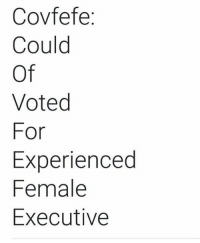 For, Executive, and Female: Covfefe  Could  Of  Voted  For  Experienced  Female  Executive