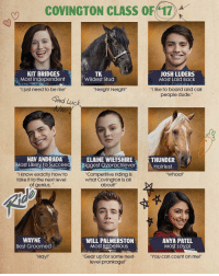 "Meet the class of Covington Academy! What's your ClassSuperlative? Catch the premiere of RideonNickelodeon Mon at 8pm-7c! 🐴: COVINGTON CLASS OF 17  KIT BRIDGES  JOSH LUDERS  TK  Most independent  Wildest Stud  Most Laid Back  ul just need to be me  Neigh! Neigh!""  ""I like to board and call  people dude.  Good Luck,  NAV ANDRADA  ELAINE WHEFSHIRE  THUNDER  Most Likely to Succeed Biggest overachiever  Hairiest  Competitive riding is  know exactly how to  Whoa  take it to the next level  what Covington is all  of genius.  about!""  WAYNE  WILL PALMERSTON  ANYA PATEL  Most Rebellious  Most Loyal  Best Groomed  ""Gear up for some next-  Hay  ""YOU Can Count on me!""  level prankage!"" Meet the class of Covington Academy! What's your ClassSuperlative? Catch the premiere of RideonNickelodeon Mon at 8pm-7c! 🐴"