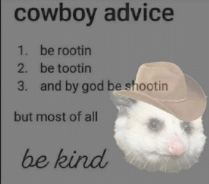 Advice, God, and All: cowbov advice  be rootin  be tootin  and by god be shootin  1.  2.  3.  but most of all  be kind