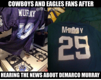 BREAKING: DeMarco Murray signs with the Eagles.: COWBOYS AND EAGLES FANS AFTER  @NFL MEMES  MURAY  HEARING THE NEWS ABOUT DEMARCO MURRAY BREAKING: DeMarco Murray signs with the Eagles.