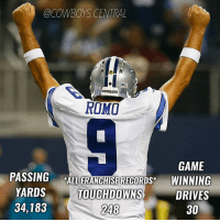 Have a career, @tony.romo! ThankYouRomo: @COWBOYS CENTRAL  COWBOYS  ROMI  GAME  PASSING  *ALL FRANCHISE RECORDS  WINNING  YARDS  TOUCHDOWNS  DRIVES  34,183  30  248 Have a career, @tony.romo! ThankYouRomo