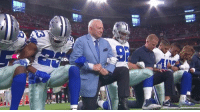 Cowboys & owner Jerry Jones link arms & kneel together prior to the national anthem on Monday Night Football.  More: http://ble.ac/2wP0ySR: Cowboys & owner Jerry Jones link arms & kneel together prior to the national anthem on Monday Night Football.  More: http://ble.ac/2wP0ySR