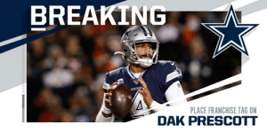 Cowboys placing franchise tag on QB Dak Prescott. (via @rapsheet) https://t.co/uNtZxt0XqU: Cowboys placing franchise tag on QB Dak Prescott. (via @rapsheet) https://t.co/uNtZxt0XqU