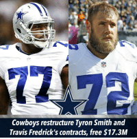 Cowboys restructure contracts of Tyron Smith, Travis Frederick, free $17.3M: Cowboys restructure Tyron Smith and  Travis Fredrick's contracts, free $17.3M Cowboys restructure contracts of Tyron Smith, Travis Frederick, free $17.3M