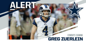 Cowboys signing K Greg Zuerlein to three-year deal. (via @MikeGarafolo) https://t.co/7VlgWab94F: Cowboys signing K Greg Zuerlein to three-year deal. (via @MikeGarafolo) https://t.co/7VlgWab94F