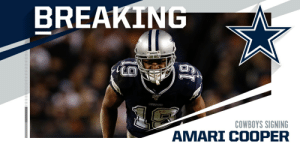 Cowboys, WR Amari Cooper agree in principle to five-year, $100M deal. (via @RapSheet) https://t.co/38ArQXwKkf: Cowboys, WR Amari Cooper agree in principle to five-year, $100M deal. (via @RapSheet) https://t.co/38ArQXwKkf