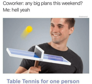 All Reddit users including me: Coworker: any big plans this weekend?  Me: hell yeah  @dabmoms2  Table Tennis for one person All Reddit users including me