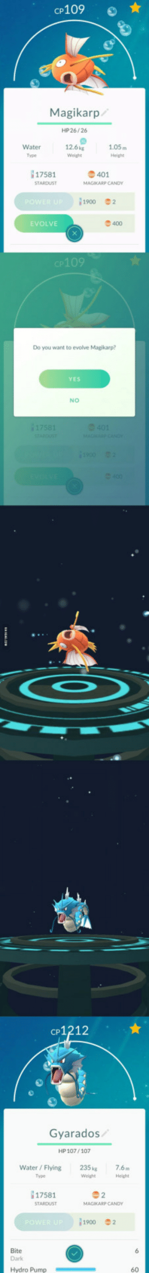 The very definition of worth it.: CP109  Magikarp/  HP 26/26  Water  Type  12.6kg  Weight  1.05m  Height  17581  401  1900  2  EVOLVE  400  p109  Do you want to evolve Magikarp?  YES  NO  cP1212  Gyarados  HP 107/107  Water / Flying  Type  235 kg  Weight  7.6m  17581  MAGKARP CANDY  i1900  2  Bite  Dark  Hydro Pump  60 The very definition of worth it.