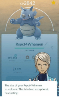 exceptional: CP2842  Rspct4Whamen  166/ 166 HP  160.1kg  WEIGHT  GROUND /  1 879  STARDUST  The size of your Rspct4Whamern  is...colossal. This is indeed exceptional.  Fascinating!