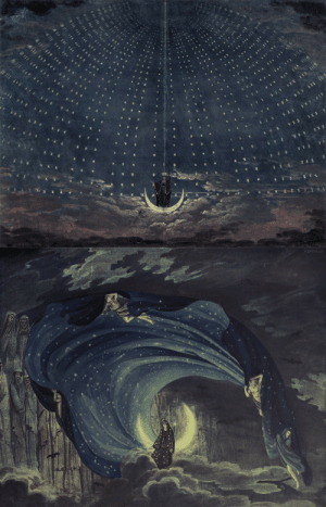 "Tumblr, Queen, and Blog: cpress.cn fauxfelix: Iconic historical stage designs for The Queen of the Night sequence from Mozart's ""Magic Flute"" - the first image by Karl Friedrich Schinkel in 1815, the second by Simon Quaglio in 1818 (x)"