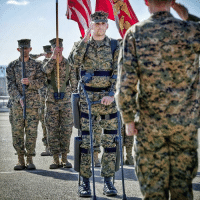 Memes, Braces, and 🤖: CPT Derek Herrera vowed to leave the Marine Corps the same way he entered - on his own two feet - Aided by robotic leg braces, this marine, paralyzed from the waist down by a sniper in Afghanistan, walked across a parade ground in Camp Pendleton to receive a Bronze Star for bravery - CPT Herrera is set to retire next week and is studying for a MBA at UCLA were he hopes to do something to continue to enrich veterans' lives - respect usmc semperfi