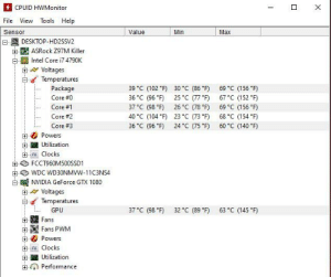 """New to the PCMR.. just wondering if my cpu and gpu temps are okay. I got a 4790k not overclocked with a gtx 1080.. just want to make sure they stay cool: CPUID HWMonitor  Tools Help  File View  Sensor  Value  Min  Max  DESKTOP-HD2SSV2  5 ASRock Z97M Killer  Intel Core i7 4790K  A Voltages  Temperatures  Package  Core #0  Core #1  Core #2  39 °C (102 """"F)  36 °C (96 °F)  37 °C (98 °F)  40 °C (104 °F)  36 °C (96 """"F)  69 °C (156 °F)  67 °C (152 """"F)  69 °C (156 °F)  68 °C (154 °F)  60 °C (140 °F)  30 °C (86 *F)  25 °C (77 """"F)  26 °C (78 """"F)  23 °C (73 °F)  24 °C (75 *F)  Core #3  Powers  +-  Utilization  + u Clocks  FCCT960M500SSD1  WDC WD30NMVW-11C3NS4  NVIDIA GeForce GTX 1080  A Voltages  Temperatures  37 °C (98 °F)  63 °C (145 °F)  32 °C (89 """"F)  GPU  Fans  Fans PWM  Powers  +-  ru Clocks  Utilization  Performance New to the PCMR.. just wondering if my cpu and gpu temps are okay. I got a 4790k not overclocked with a gtx 1080.. just want to make sure they stay cool"""