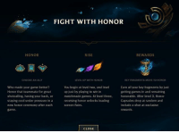 HONOR IS NOW LIVE ON NA! Other regions rolling out soon! | LeagueofLegends lolfam3: Cr  FIGHT WITH HONOR  HONOR  RISE  REWARDS  CHOOSE AN ALLY  EVEL UP WITH HONOR  KEY FRAGMENTS MOVE TO HONOR  Who made your game better?  Honor that teammate for great  shotcalling, having your back, or  staying cool under pressure in a  new honor ceremony after each  game.  You begin at level two, and level  up just by playing to win in  matchmade games. At level three,  receiving honor unlocks loading  screen flairs.  Earn all your key fragments by just  getting games in and remaining  honorable. After level 3, Honor  Capsules drop at random and  include a shot at exclusive  rewardS  CLOSE HONOR IS NOW LIVE ON NA! Other regions rolling out soon! | LeagueofLegends lolfam3