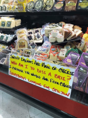 Cheesy grocery store sign 🤣 via /r/funny https://ift.tt/2MbvlvR: CR  OLD  CASH  SWEET DREAMS ARE ADE O CHEESE  wilo An I TO DISS A BRIE  CHEDDAR THE WORLD AAR Fera C Cheesy grocery store sign 🤣 via /r/funny https://ift.tt/2MbvlvR