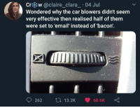 Email, Bacon, and Car: Cr w @claire. Clara-. O4 Jul  Wondered why the car blowers didn't seem  very effective then realised half of them  were set to 'email' instead of 'bacon'.  262  13.2K 60.6K I dont know gow to title this