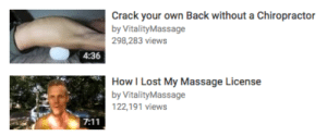 humor-n-shit-blog:it was inevitable: Crack your own Back without a Chiropractor  by VitalityMassage  298,283 views  4:36  How I Lost My Massage License  by VitalityMassage  122,191 views humor-n-shit-blog:it was inevitable