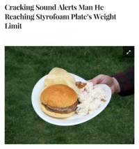 Irl, Sound, and Man: Cracking Sound Alerts Man He  Reaching Styrofoam Plate's Weight  Limit Me 🍔 Irl