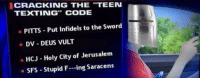 """Texting, Sword, and Jerusalem: CRACKING THE 'TEEN  TEXTING"""" CODE  PITTS Put Infidels to the Sword  DV- DEUS VULT  HCJ Holy City of Jerusalem  SFS Stupid F-ing Saracens <p>Cracking the teen texting code</p>"""