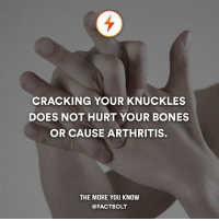 Memes, The More You Know, and webMD: CRACKING YOUR KNUCKLES  DOES NOT HURT YOUR BONES  OR CAUSE ARTHRITIS.  THE MORE YOU KNOW  @FACT BOLT The popping noise you hear is caused by small bubbles bursting in your synovial fluid, a yolk-like substance that lubricates the areas between bones and reduces friction for ease of movement. — Sources: http:-www.webmd.com-osteoarthritis-guide-joint-cracking-osteoarthritis — http:-mentalfloss.com-article.php?id=59896