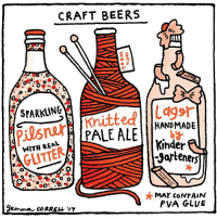 """🍻 for The Observer magazine comics: CRAFT BEERS  srARKALNG  Pilsner  PALE ALE  GLITTER  O  CORREH """"IT  Illt  HANDMADE  Kinder  Jarteners  MAT CONTAIN  PVA GLUE 🍻 for The Observer magazine comics"""