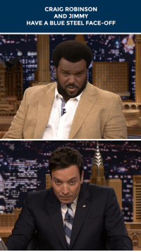 """Craig Robinson, Target, and Blue: CRAIG ROBINSON  AND JIMMY  HAVE A BLUE STEEL FACE-OFF <p><a class=""""tumblelog"""" href=""""http://tmblr.co/myKwW0ImtLERUYvY6r-YxFg"""" target=""""_blank"""">nbcmrrobinson</a>&rsquo;s Craig Robinson shows Jimmy <a href=""""http://www.nbc.com/the-tonight-show/segments/6171"""" target=""""_blank"""">what the most flattering face is to use</a> when being photographed.</p>"""