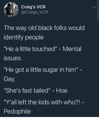"Blackpeopletwitter, Hoe, and Black: Craig's VCR  @Craigs_VCR  The way old black folks would  identify people  ""He a little touched"" - Mental  ssueS  ""He got a little sugar in him'""  Gay  ""She's fast tailed"" - Hoe  ""Y'all left the kids with who?!  Pedophile <p>I&rsquo;m a little touch, fast tailed, with some sugar in me (via /r/BlackPeopleTwitter)</p>"