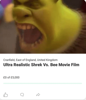 Wassup diggidy dogs: Cranfield, East of England, United Kingdom  Ultra Realistic Shrek Vs. Bee Movie Film  £0 of £5,000 Wassup diggidy dogs