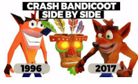 Who else is excited for the resurrection of this legend?!  I'm pumped!: CRASH BANDICOOT  SIDE BY SIDE  1996  2017 Who else is excited for the resurrection of this legend?!  I'm pumped!