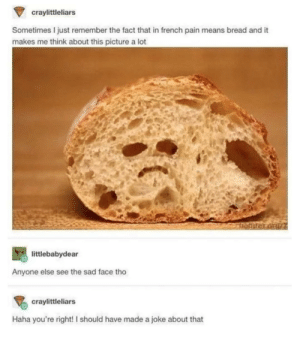 Sad Bread: craylittleliars  Sometimes I just remember the fact that in french pain means bread and it  makes me think about this picture a lot  littlebabydear  Anyone else see the sad face tho  craylittleliars  Haha you're right! I should have made a joke about that Sad Bread