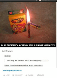 Memes, Define, and What Does: Crayola  CRAYONS  IN AN EMERGENCY A CRAYON WILL BURN FOR30 MINUTES  hetrifrmph  snorl4x:  how long will it burn if it isn't an emergency???????  #what does the crayon define as an emergency  thetrifrmphm.tumblin com  LIKE COMMENT  SHARE  68 LIKES