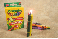 Crayola  Preferred by Teacherat  CRAYONS  24 Crayons make great emergency candles. So does a can of tuna (only tuna packed in vegetable oil NOT packed in water). But the best, longest burning emergency candle is a can of Crisco which have been known to burn up to 45 days. - Tom Retterbush