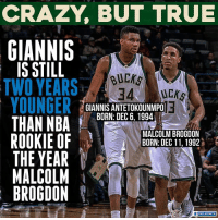 Crazy, Memes, and Sports: CRAZY, BUT TRUE  GIANNIS  IS STILL  TWO YEARS  BUEKS  34 U  GIANNIS ANTETOKOUNMPO  BORN: DEC 6. 1994  MALCOLM BROGDON  BORN: DEC 11,1992  ROOKIE OF  THE YEAR  MALCOLM  BROGDON  CBS SPORTS Giannis' ceiling is sky high.