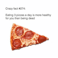 The more you know!!! hardscience: Crazy fact #274:  Eating 3 pizzas a day is more healthy  for you than being dead The more you know!!! hardscience