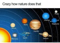 Crazy, Memes, and Earth: Crazy how nature does that  Pluto  Uranus  Mars  Neptune  Venus  Jupiters  Saturn  Mercury Earth  ERAR 50 Of Today's Freshest Pics And Memes