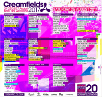 We're here at @Creamfields 🎉 Be sure to follow our Instagram & Snapchat accounts & let us know which acts you want to see on our stories 🎪 https://t.co/Te5Uj4CG3Z: Creamfields,  Fan Renend2017 SATURDAY 26 AUGUST 2017  24125126127 August  Bank Hol Weekend  SOUTH STAGE  DEADMAU5  ARMIN VAN BUUREN  OLIVER HELDENS  MARTIN SOLVEIG  GARETH WYN  STEEL YARD PRESENTS S STEM  RICHIE HAWTIN CLOSE  UK EXCLUSIVE PERFORMANCE  MARCO CAROLA  LOCO DICE  MEGA ARENA  NORTH STAGE  XWELL & INGROSSO  DIMITRI VEGAS & LIKE MIKETCHAMI  ABOVE & BEYOND  GALANTIS  NICKY ROMERO  ANDREW BAYER&  LAN BLUESTONE  LOST FREQUENCIES  MARSHMELLO  CUARTERO B2B MAR-T  AVELINO  BARELY LEGAL  ALEX ROSS  SPECIAL GUEST  SUB FOCUS  ALL GONE PETE TONG  SVEN VATH  THE MARTINEZ BROTHERS  HOT SINCE 82  SOLARDO  STORMZY  MISTAJAM  DILLON FRANCIS  UST  NGHTMRE  SLANDER  GHASTLY  GRANDTHEFT  BOOMBOX CARTEL  PARTY FAVOR  RITON FEAT, KAH-LO RDE  P MONEY  THEO KOTTIS  UST  SPECIAL GUEST  CHARLIE SLOTH  LOGAN SAMA  THE BLACK MADONNA  HOSTED BY THE LEGENDARY  PETE TONG  UST  KEEPING THE RAVE ALIVE  LAIDBACK LUKE  TIMMY TRUMPET  WILL SPARKS  TOM ZANETTI&KO KANE  ANTON POWERS  COREY JAMES  SON OF 8  VERY SPECIAL GUEST  HOSPITALITY  ANDY MAC  SEAN HUGHES  JAMES DUTTON  JOSH DEMELLO  ALAN HARTLEY  JAMIE TRIPPIER  SEAN DOUGHERTY  LIAM CORS  LEE BULLOCK  DARREN STYLES  SCOTT BROWN  BIG WORM  FRACTURE  OBSESSION  CREAMFIELDS.COM  We're here at @Creamfields 🎉 Be sure to follow our Instagram & Snapchat accounts & let us know which acts you want to see on our stories 🎪 https://t.co/Te5Uj4CG3Z