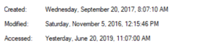 Time, Wednesday, and Back: Created:  Wednesday, September 20, 2017, 8:07:10 AM  Modified:  Saturday. November 5, 2016, 12:15:46 PM  Accessed:  Yesterday, June 20, 2019, 11:07:00 AM This application traveled back in time to be modified