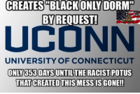 """(H) Want some PROOF to shove down Liberals throats about how Obama has DESTROYED race relations in this country? Ask them why Black Students WANT to be and REQUESTED to be SEGREGATED!?!?: CREATES BLACK ONLY DORM""""  BY REQUEST!  UNIVERSITY OF CONNECTICUT  ONLY 353 DAYSUNTIL THE RACIST POTUS  THAT CREATEDTHIS MESS ISGONE!! (H) Want some PROOF to shove down Liberals throats about how Obama has DESTROYED race relations in this country? Ask them why Black Students WANT to be and REQUESTED to be SEGREGATED!?!?"""