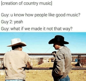 Music, Country Music, and Good: (creation of country music]  Guy: u know how people like good music?  Guy 2: yealh  Guy: what if we made it not that way? Creation of country music