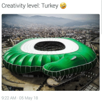 Soccer, Sports, and Turkey: Creativity level: Turkey  9:22 AM 05 May 18 The new Timsah Arena of Bursaspor. Rate it from 1 to 10 🐊